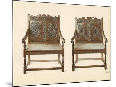 Oak Double Chairs-Shirley Charles Llewellyn Slocombe-Mounted Giclee Print