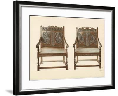 Oak Double Chairs-Shirley Charles Llewellyn Slocombe-Framed Giclee Print