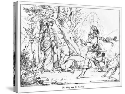 The Saga of Lorelei, Engraved by J. Dielmann-Alfred Rethel-Stretched Canvas Print