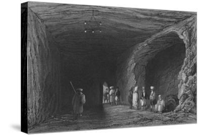 Cave of the School of the Prophets, in Mount Carmel-William Henry Bartlett-Stretched Canvas Print