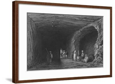 Cave of the School of the Prophets, in Mount Carmel-William Henry Bartlett-Framed Giclee Print