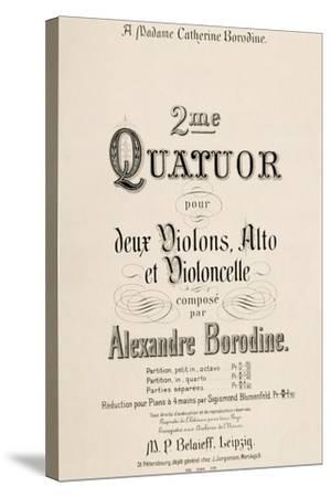 Title Page of Score for Second Quartet-Aleksandr Borodin-Stretched Canvas Print