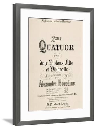 Title Page of Score for Second Quartet-Aleksandr Borodin-Framed Giclee Print