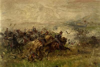 The Charge of Villafranca, June 24, 1866-Sebastiano de Albertis-Framed Giclee Print