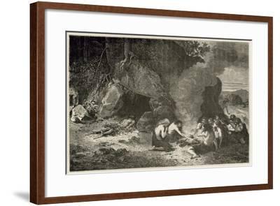 Un Repas Funeraire a L'Epoque Du Grand Ours Et Du Mammouth-Emile Antoine Bayard-Framed Giclee Print