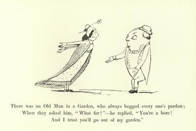 There Was an Old Man in a Garden, Who Always Begged Every One's Pardon-Edward Lear-Framed Giclee Print