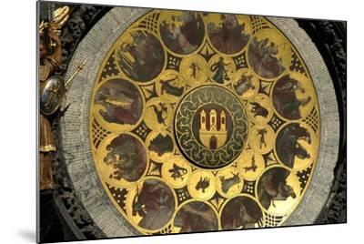The Prague Astronomical Clock, the Calendar-Josef Manes-Mounted Giclee Print