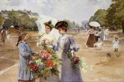 The Avenue of the Bois De Boulogne - Spring Morning, 1902-Louis de Schryver-Framed Giclee Print
