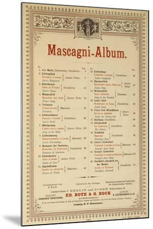 Title Page of Album of Compositions-Pietro Mascagni-Mounted Giclee Print