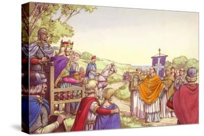 Augustine Facing King Ethelbert and His Queen, Bertha-Pat Nicolle-Stretched Canvas Print