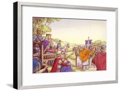 Augustine Facing King Ethelbert and His Queen, Bertha-Pat Nicolle-Framed Giclee Print