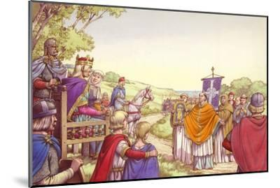 Augustine Facing King Ethelbert and His Queen, Bertha-Pat Nicolle-Mounted Giclee Print