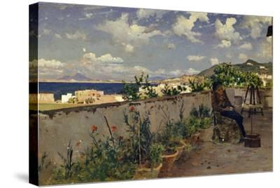 Garden with the Sea in the Background-Antonino Leto-Stretched Canvas Print