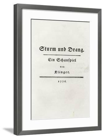 Title Page from Sturm Und Drang, 1776-Friedrich Maximilian Klinger-Framed Giclee Print