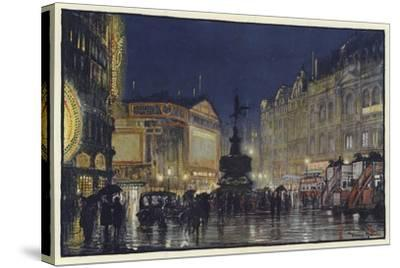 The Heart of the Empire, an Impression of Piccadilly Circus at Dusk-Donald Maxwell-Stretched Canvas Print
