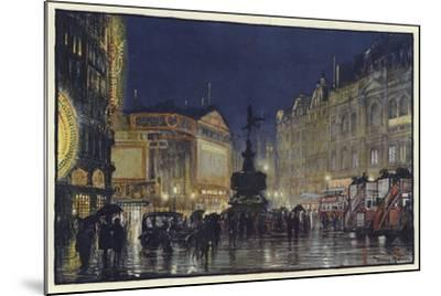 The Heart of the Empire, an Impression of Piccadilly Circus at Dusk-Donald Maxwell-Mounted Giclee Print
