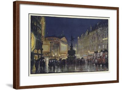 The Heart of the Empire, an Impression of Piccadilly Circus at Dusk-Donald Maxwell-Framed Giclee Print
