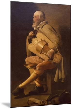 Hurdy-Gurdy Player with Bag-Georges de La Tour-Mounted Giclee Print