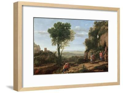 Landscape with David at the Cave of Abdullam, 1658-Claude Lorraine-Framed Giclee Print