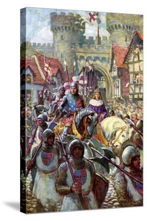 Edward V Rides into London with Duke Richard, 1483-Charles John De Lacy-Stretched Canvas Print