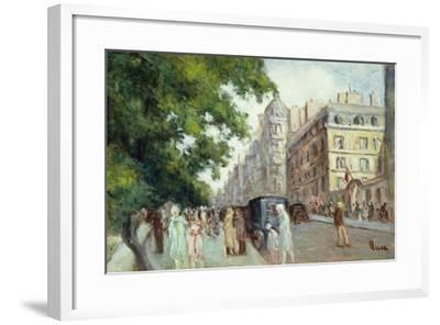 Street Scene in Paris; Scene De Rue a Paris, 1935-37-Maximilien Luce-Framed Giclee Print