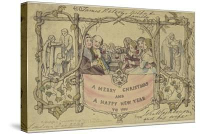 Facsimile Reproduction of the First Christmas Card-John Callcott Horsley-Stretched Canvas Print