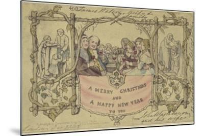 Facsimile Reproduction of the First Christmas Card-John Callcott Horsley-Mounted Giclee Print