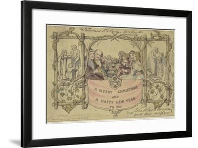 Facsimile Reproduction of the First Christmas Card-John Callcott Horsley-Framed Giclee Print