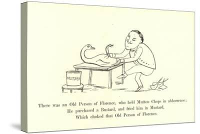 There Was an Old Person of Florence, Who Held Mutton Chops in Abhorrence-Edward Lear-Stretched Canvas Print