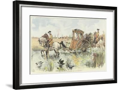 A Woman Riding in a Horse-Drawn Carriage as it Travels Through a River-Louis Vallet-Framed Giclee Print