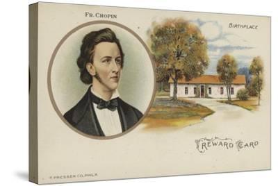 Reward Card with a Portrait of Polish Composer Frederic Chopin--Stretched Canvas Print