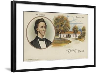 Reward Card with a Portrait of Polish Composer Frederic Chopin--Framed Giclee Print