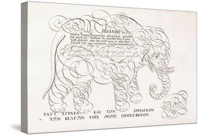 A Calligraphic Design of an Elephant, 1616-1617 and Late 17th Century--Stretched Canvas Print