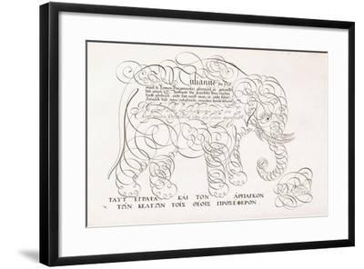 A Calligraphic Design of an Elephant, 1616-1617 and Late 17th Century--Framed Giclee Print