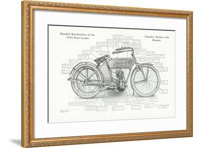 Detailed Specifications of the 1913 Sears Leader Auto-Cycle, 1913-American School-Framed Giclee Print
