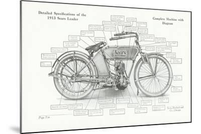 Detailed Specifications of the 1913 Sears Leader Auto-Cycle, 1913-American School-Mounted Giclee Print