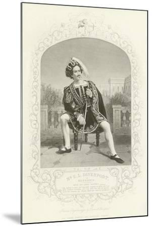 Mr E L Davenport as Benedick, Much Ado About Nothing, Act II, Scene III--Mounted Giclee Print