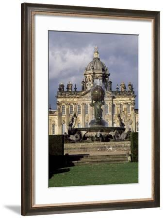 Atlas Fountain with Facade of Castle Howard in Background-John Thomas-Framed Giclee Print