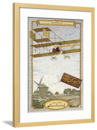 Roger Sommer in a Farman Biplane, Chalons-Sur Marne, France--Framed Giclee Print