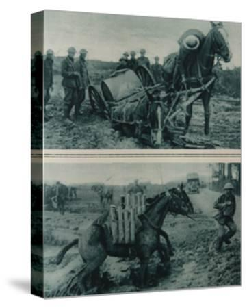 War Horses Sinking in the Mud, Northern France, August 1917--Stretched Canvas Print