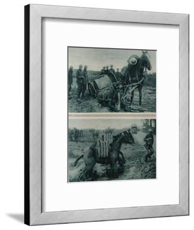 War Horses Sinking in the Mud, Northern France, August 1917--Framed Giclee Print