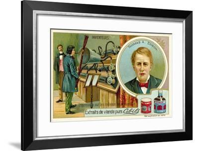 Thomas a Edison, Inventor - Recording a Phonograph--Framed Giclee Print