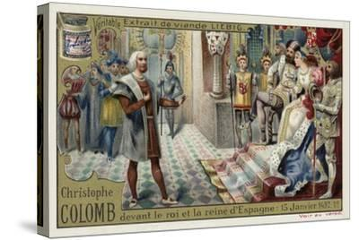 Christopher Columbus before the King and Queen of Spain, 15 January 1492--Stretched Canvas Print