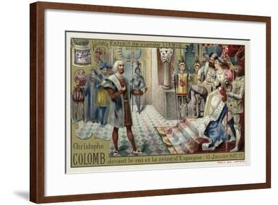 Christopher Columbus before the King and Queen of Spain, 15 January 1492--Framed Giclee Print