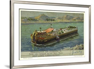Galley of the Roman Emperor Caligula on Lake Nemi, Italy, 1st Century--Framed Giclee Print