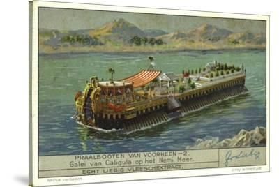 Galley of the Roman Emperor Caligula on Lake Nemi, Italy, 1st Century--Stretched Canvas Print
