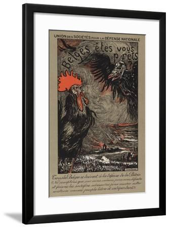 Belgian Cockerel Being Threatened by the German Eagle--Framed Giclee Print