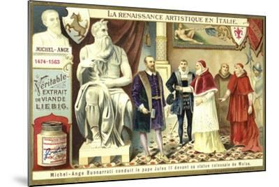 Michelangelo Showing Pope Julius II His Colossal Statue of Moses--Mounted Giclee Print