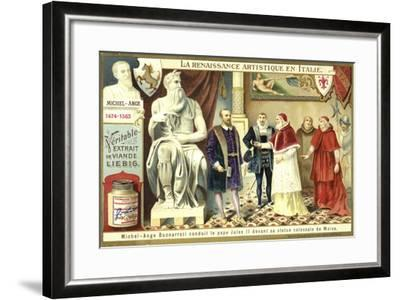Michelangelo Showing Pope Julius II His Colossal Statue of Moses--Framed Giclee Print