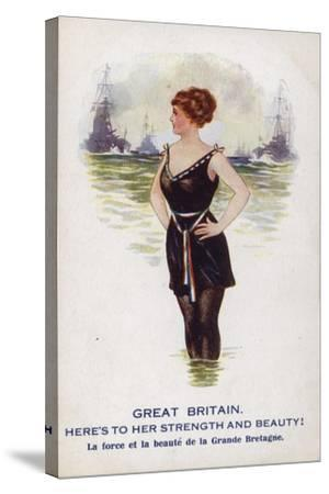 Great Britain as a Female Figure Standing in the Sea with Ships--Stretched Canvas Print